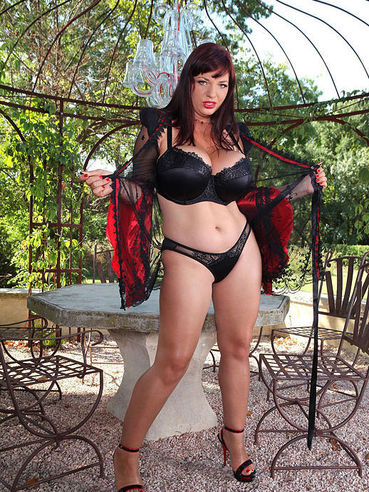 Insanely Busty Milf Chick Joanna Bliss Poses Outside In Her Sexy Lingerie