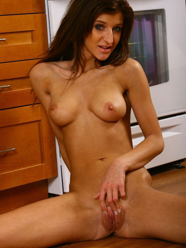 Brown Haired Lady Italia Christie With Perky Tits And Bald Pussy Gets Naked And Parts Her Legs
