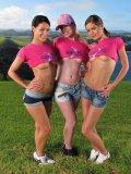 Playful Bimbos Melisa Mendiny, Kala Ferard And Little Caprice Strip And Shake Butts Outdoor