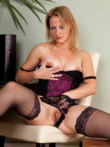 Milfy Teacher Trinity Karups In Stockings Removes Her Panties And Spreads Her Buttocks