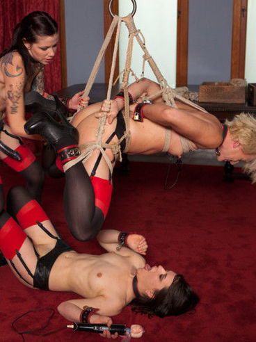 Krysta Kaos Is Together With Juliette March And Dylan Ryan While Getting Rammed During Bondage.